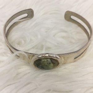 Silver Tone Green Stone Cuff Bracelet
